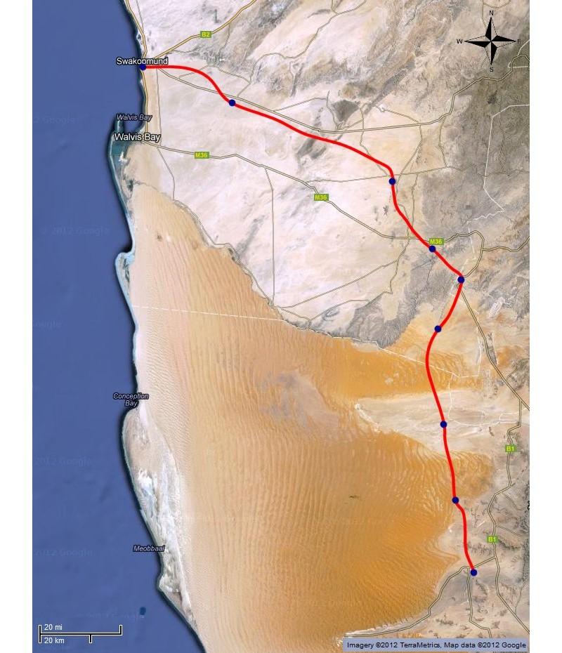 kaart Namib desert