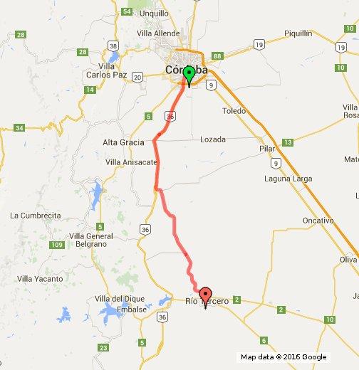 rio tercero los potreros map